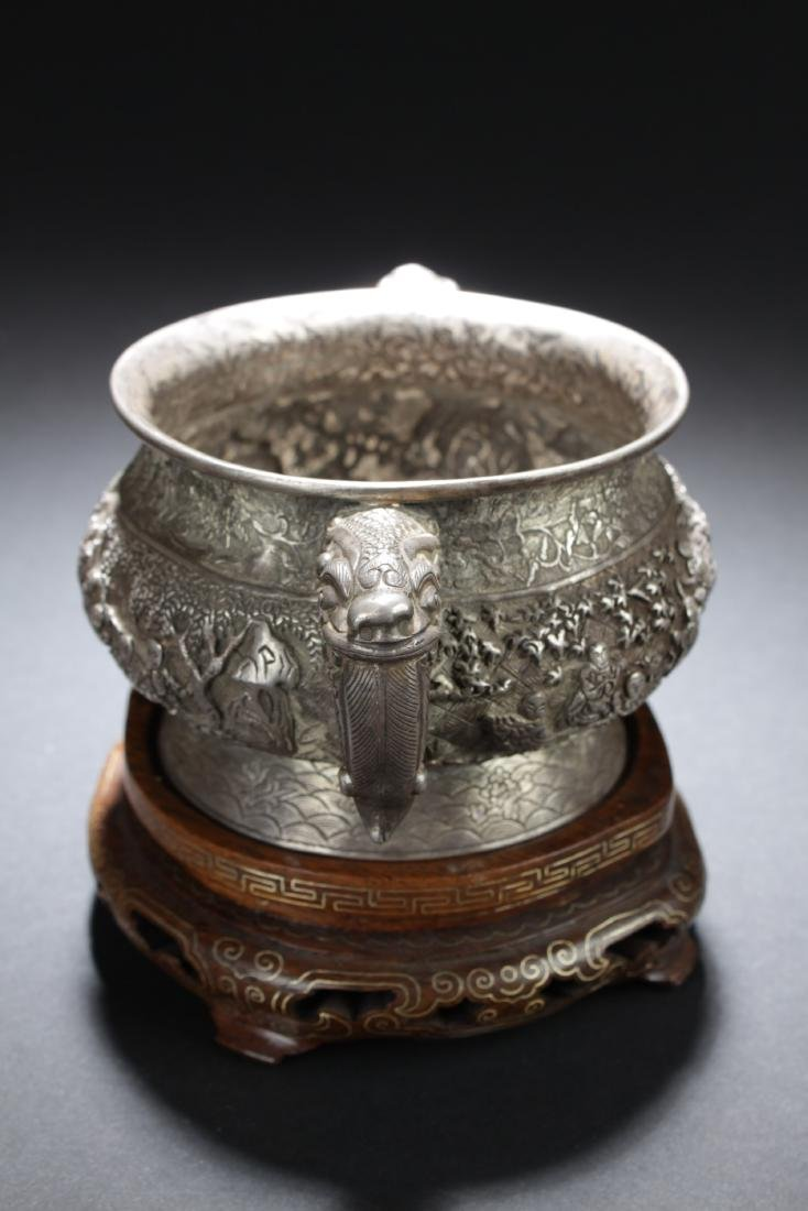 Antique Chinese Silver Embossed Censer - 2