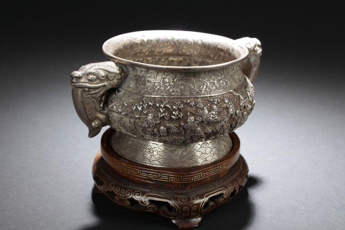 Antique Chinese Silver Embossed Censer - 3