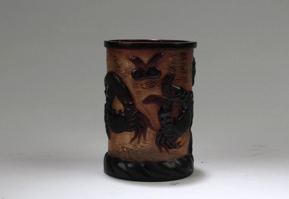 Chinese Peking Glass Brushpot