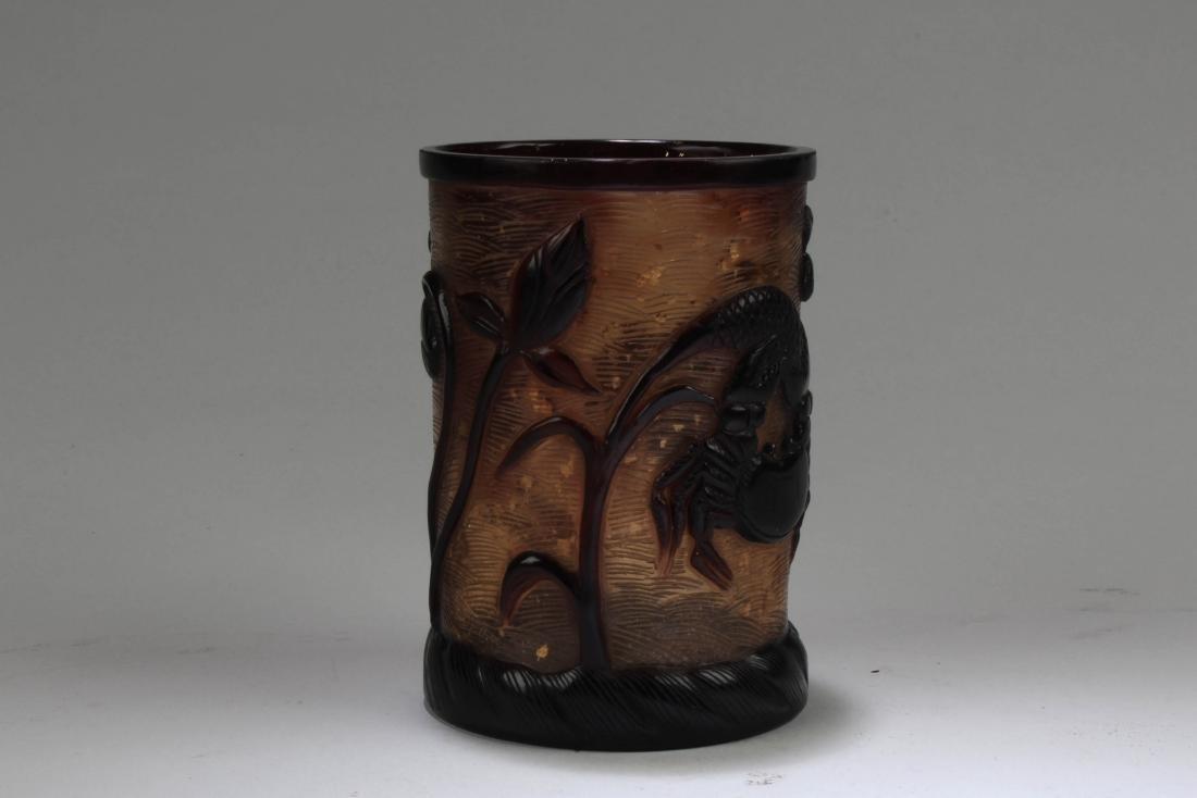 Chinese Peking Glass Brushpot - 2