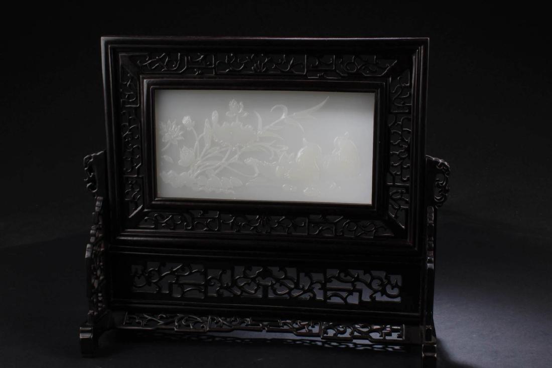 Chinese Hardwood Stone Inlay Table Screen