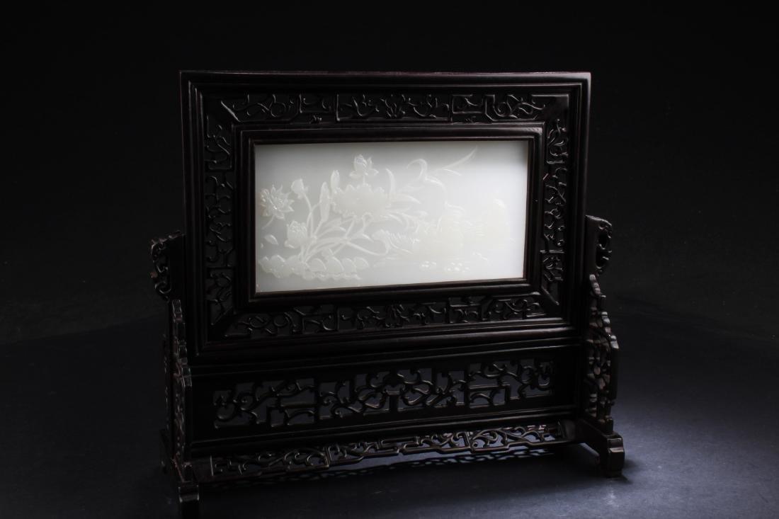 Chinese Hardwood Stone Inlay Table Screen - 2