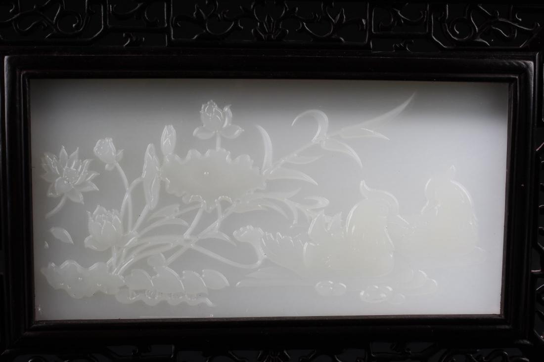Chinese Hardwood Stone Inlay Table Screen - 3