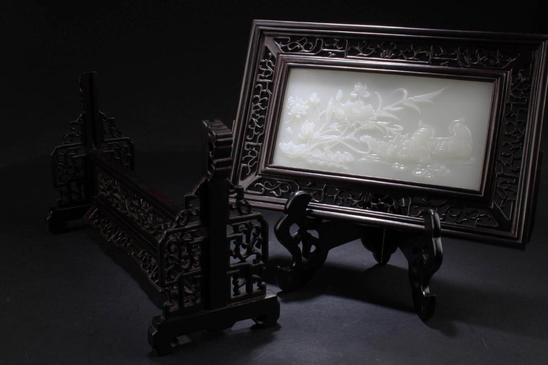 Chinese Hardwood Stone Inlay Table Screen - 4