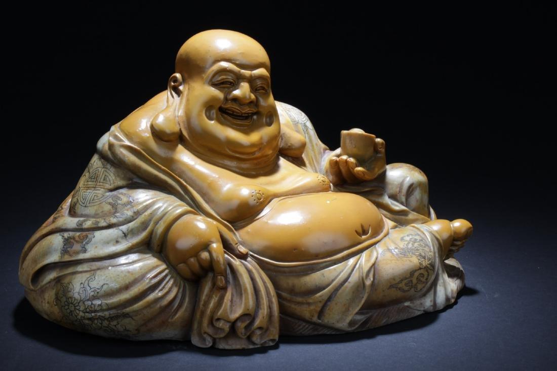 Chinese Soapstone Buddha Statue - 2