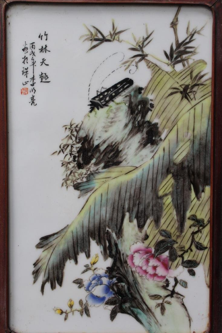 A Pair of Chinese Hardwood Framed Porcelain Painting - 2
