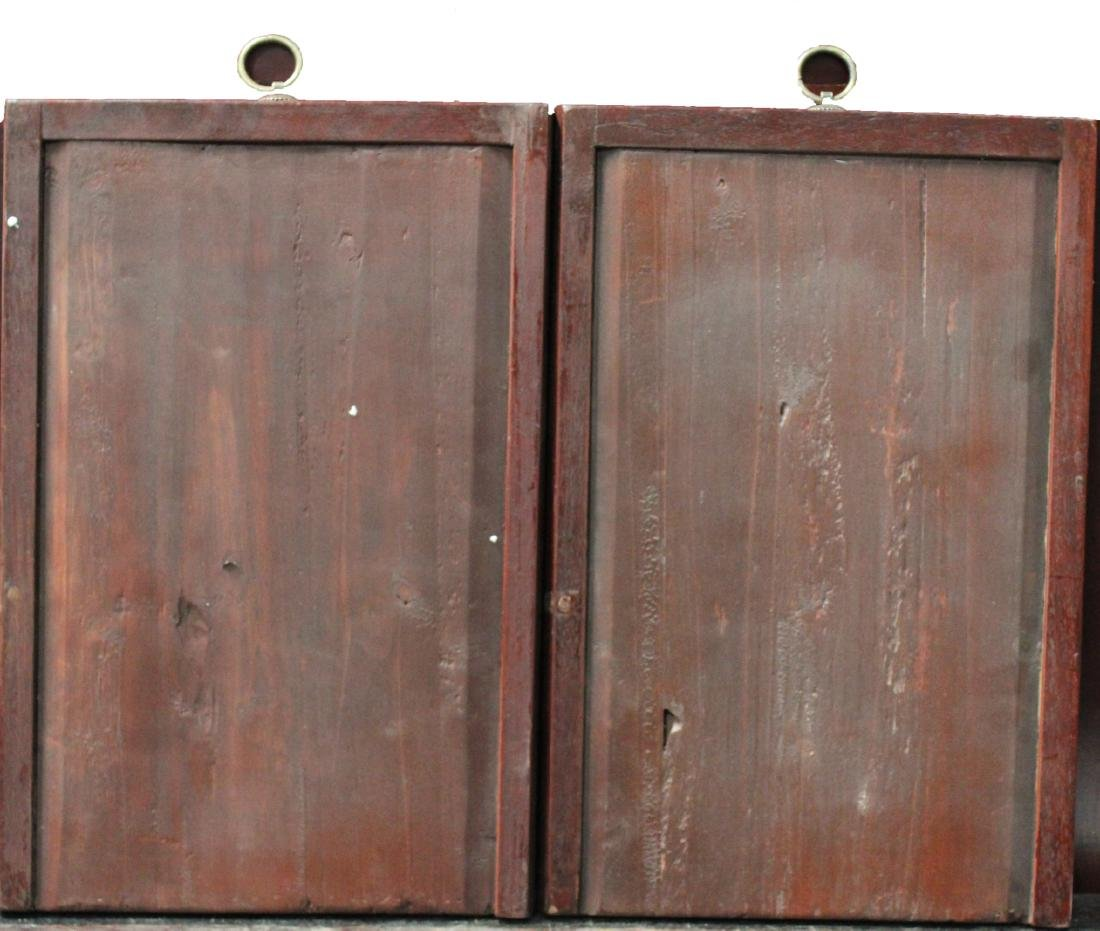 A Pair of Chinese Hardwood Framed Porcelain Painting - 6