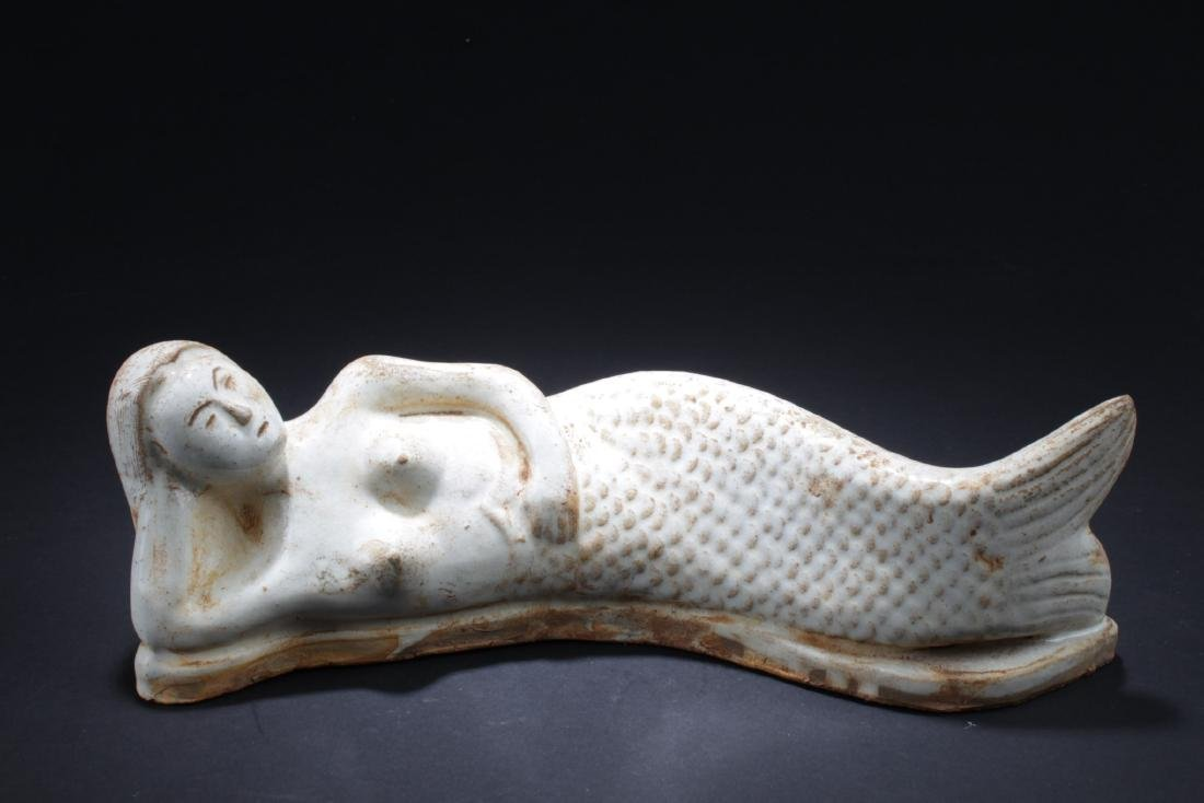 Chinese Pottery Mermaid Statue