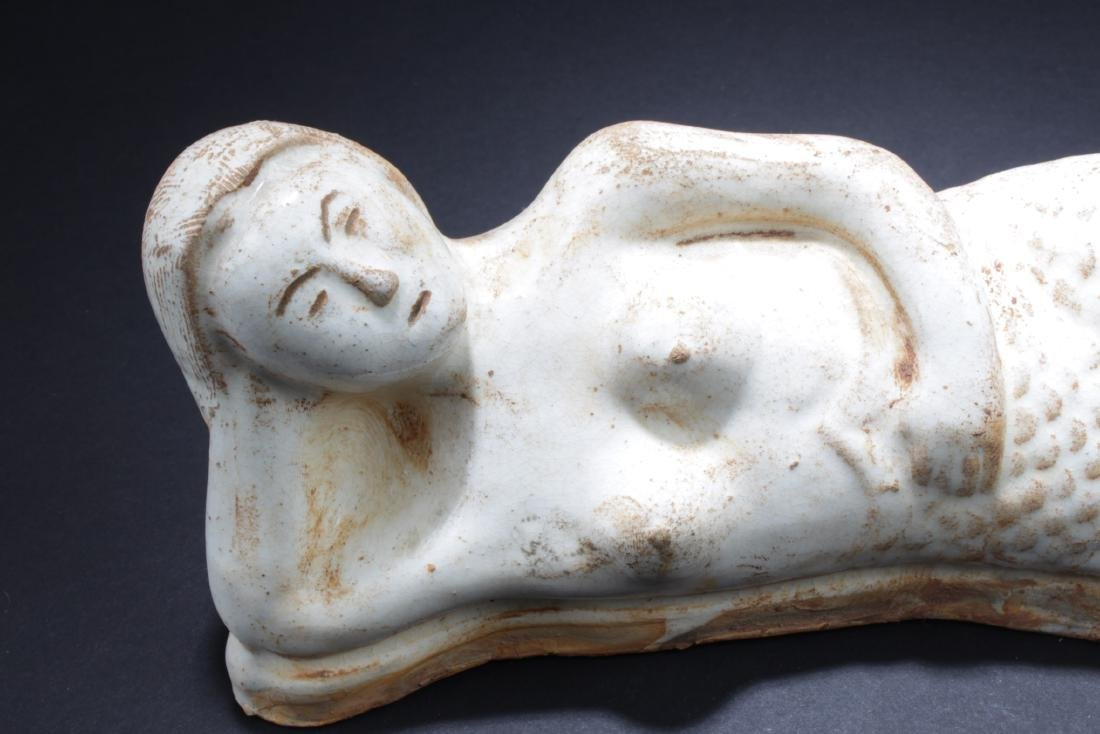 Chinese Pottery Mermaid Statue - 2