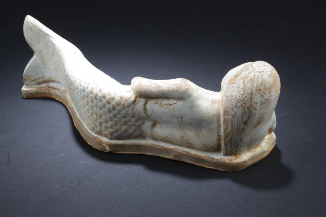 Chinese Pottery Mermaid Statue - 3