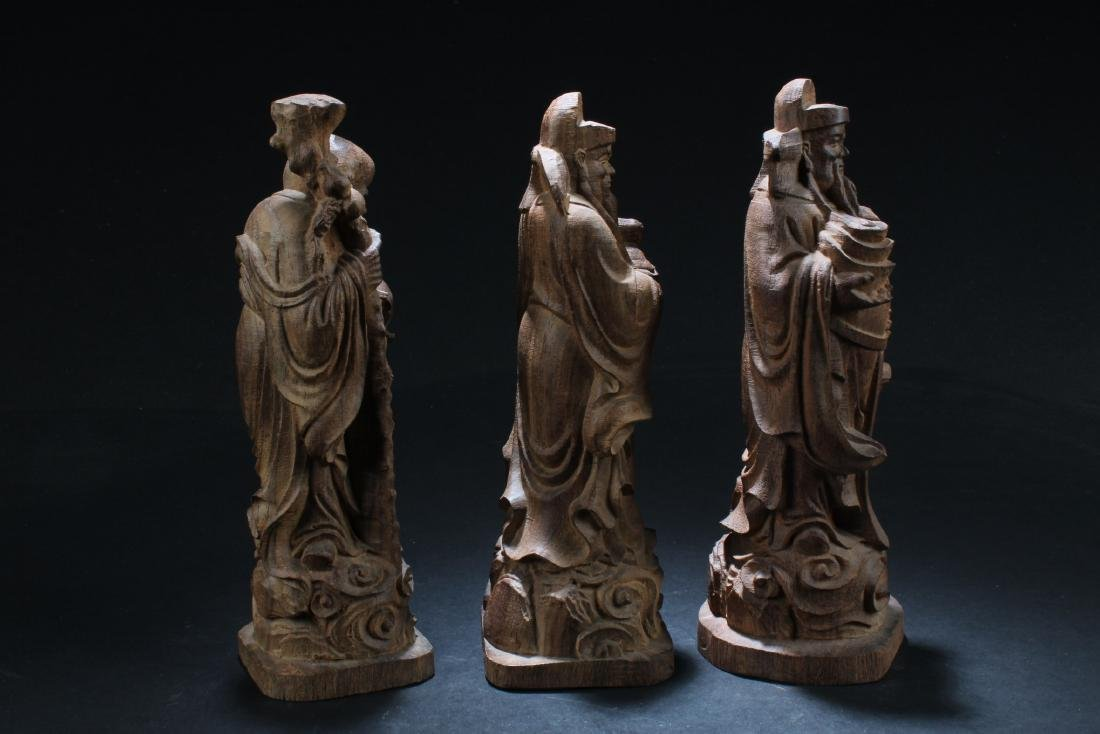 A Set of Three Chinese Wooden Carved Fu Lu Shou Statues - 3