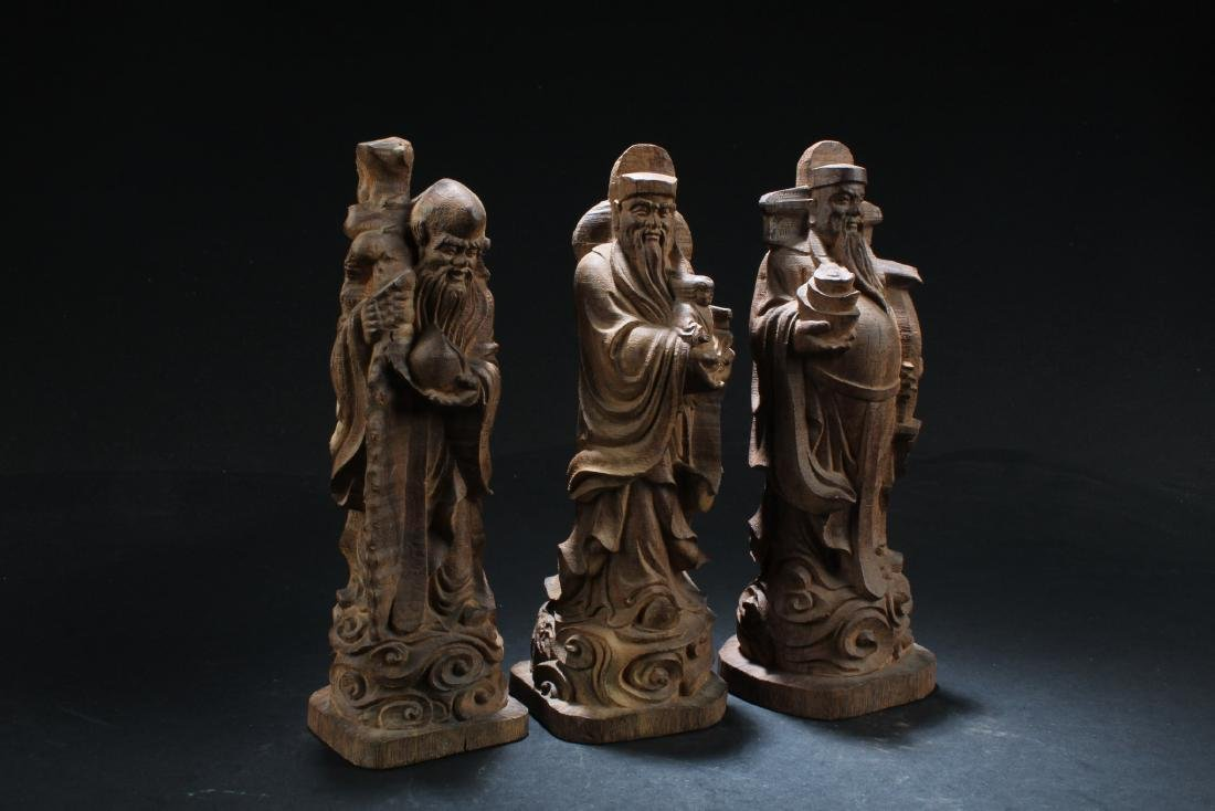 A Set of Three Chinese Wooden Carved Fu Lu Shou Statues - 5