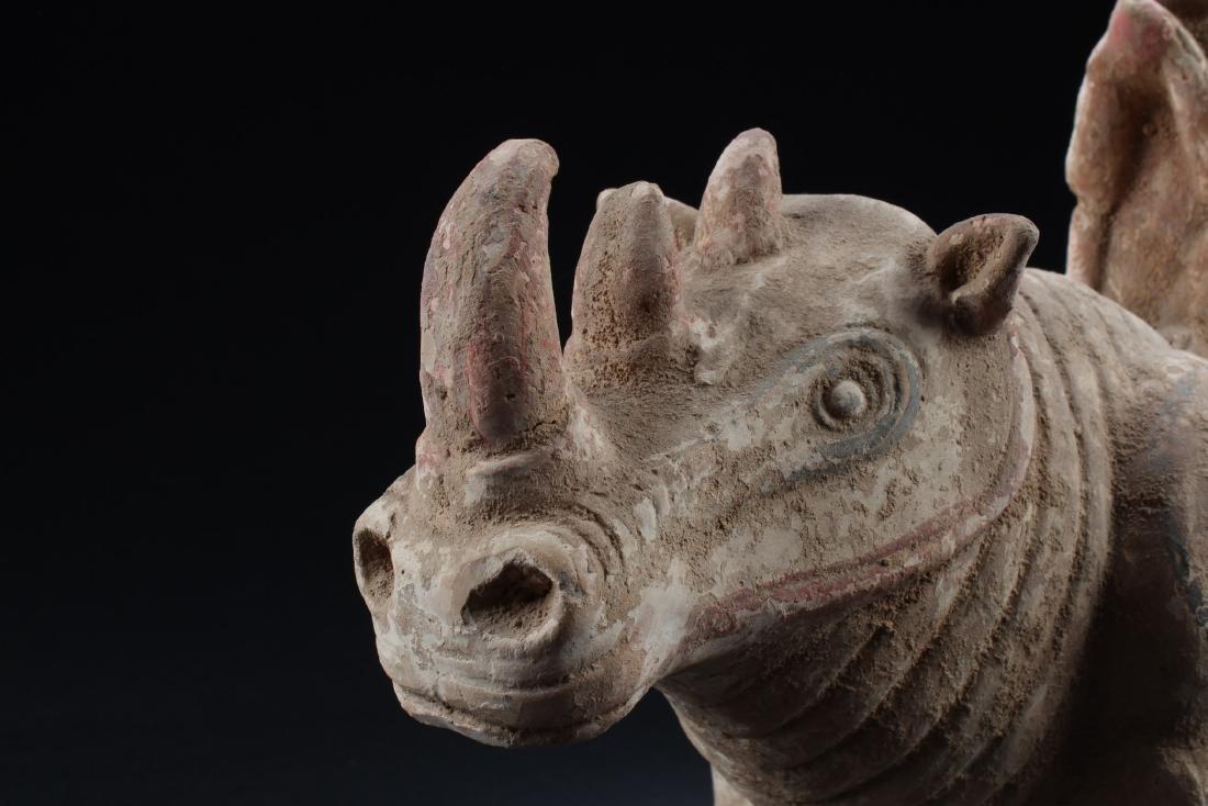Chinese Pottery Rhino Figurine - 3