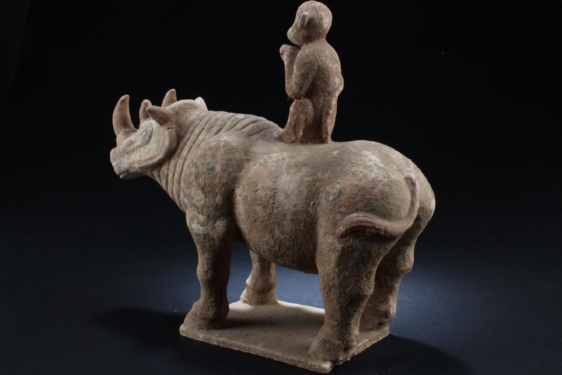 Chinese Pottery Rhino Figurine - 5