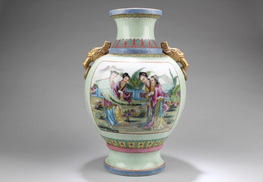 Chinese Porcelain Vase with Twin Handles - 2