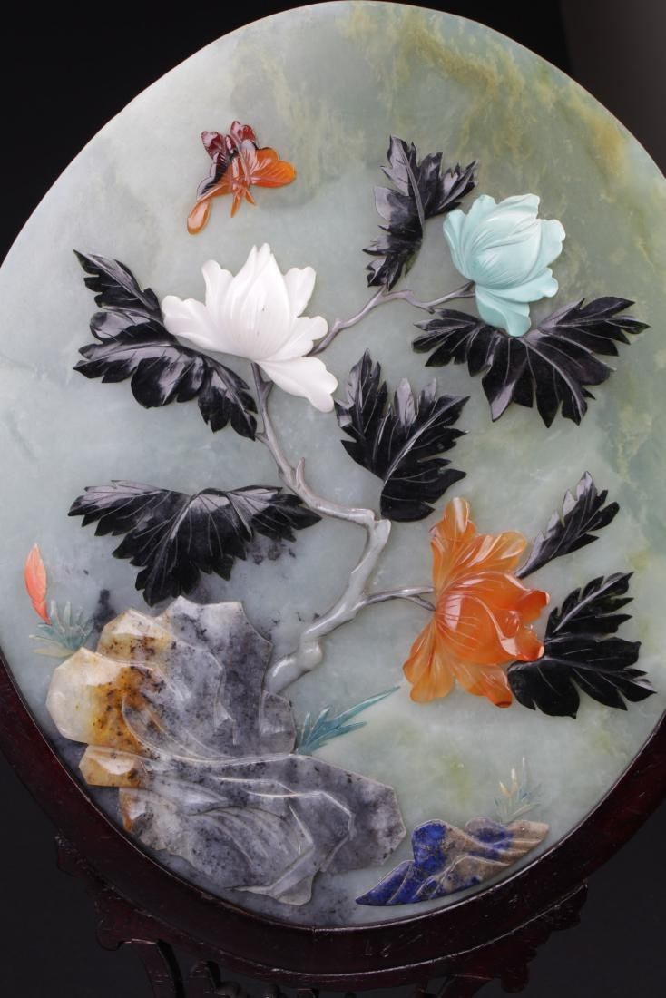 A Pair of Chinese Oval Shaped Jade Table Screen - 4