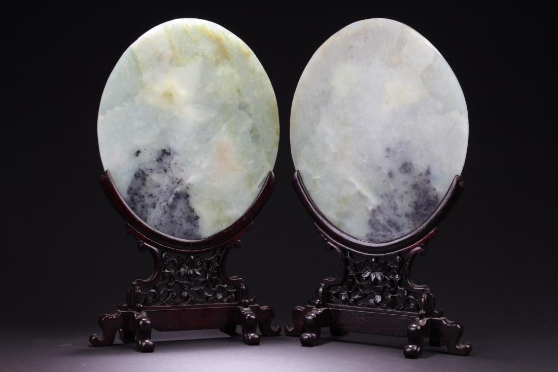 A Pair of Chinese Oval Shaped Jade Table Screen - 5