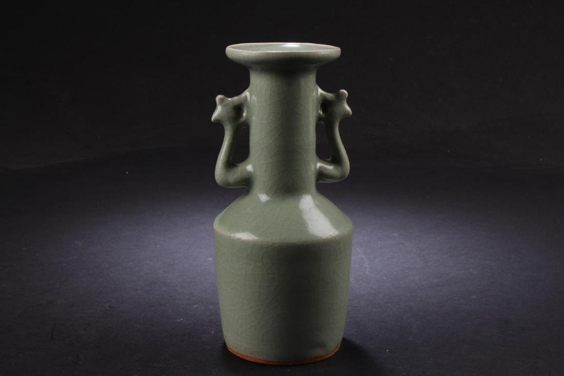 CELADON GLAZED BOTTLE VASE WITH PHOENIX HANDLES