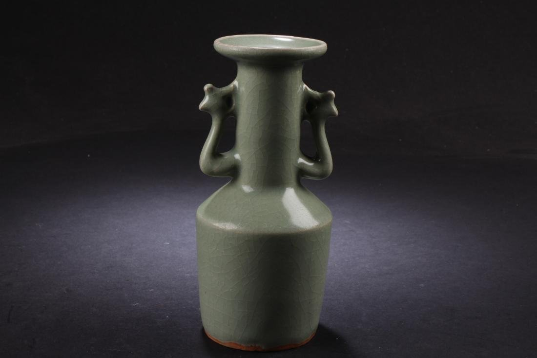 CELADON GLAZED BOTTLE VASE WITH PHOENIX HANDLES - 2