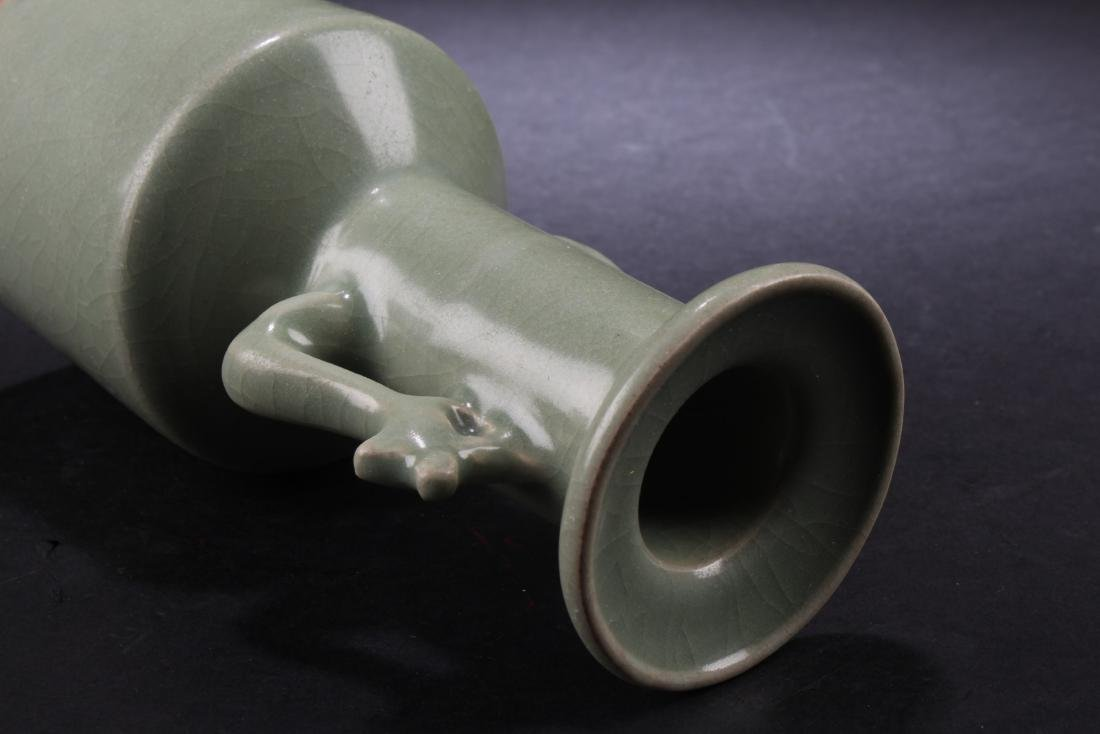 CELADON GLAZED BOTTLE VASE WITH PHOENIX HANDLES - 4