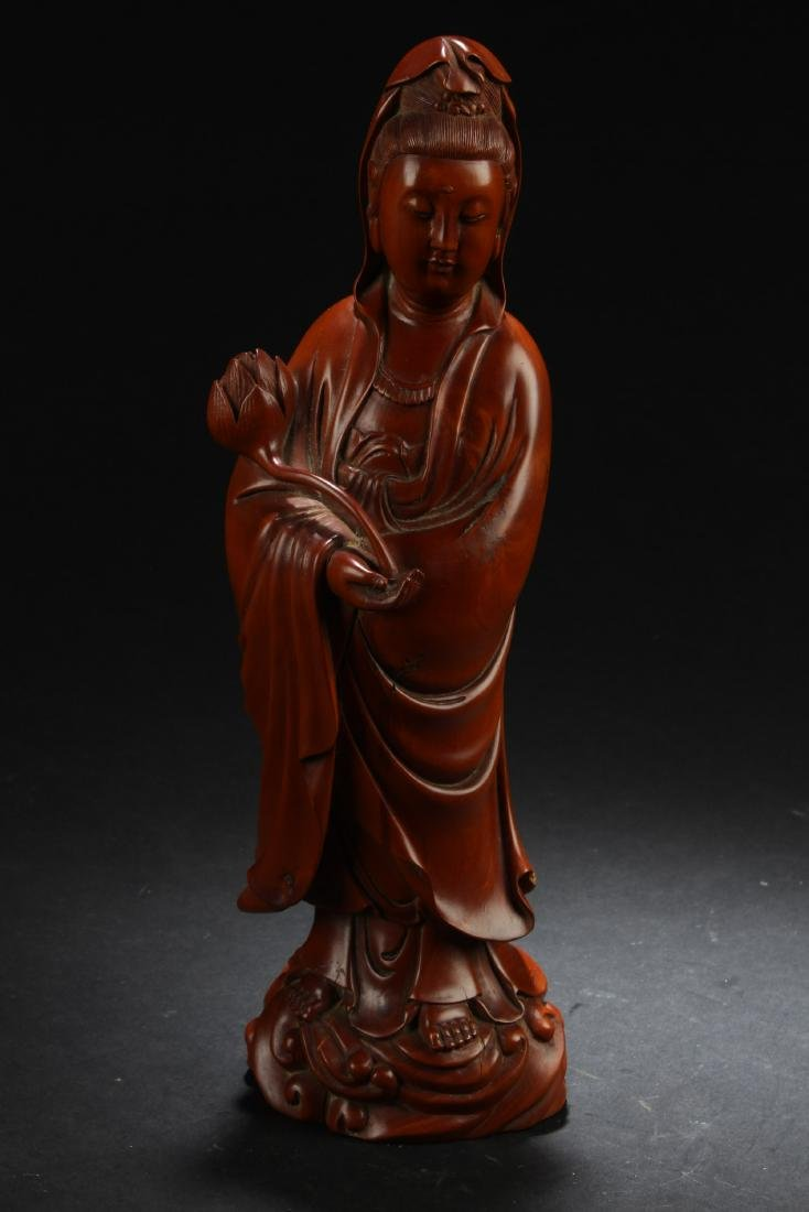 Chinese Wooden Carved Guanyin Statue