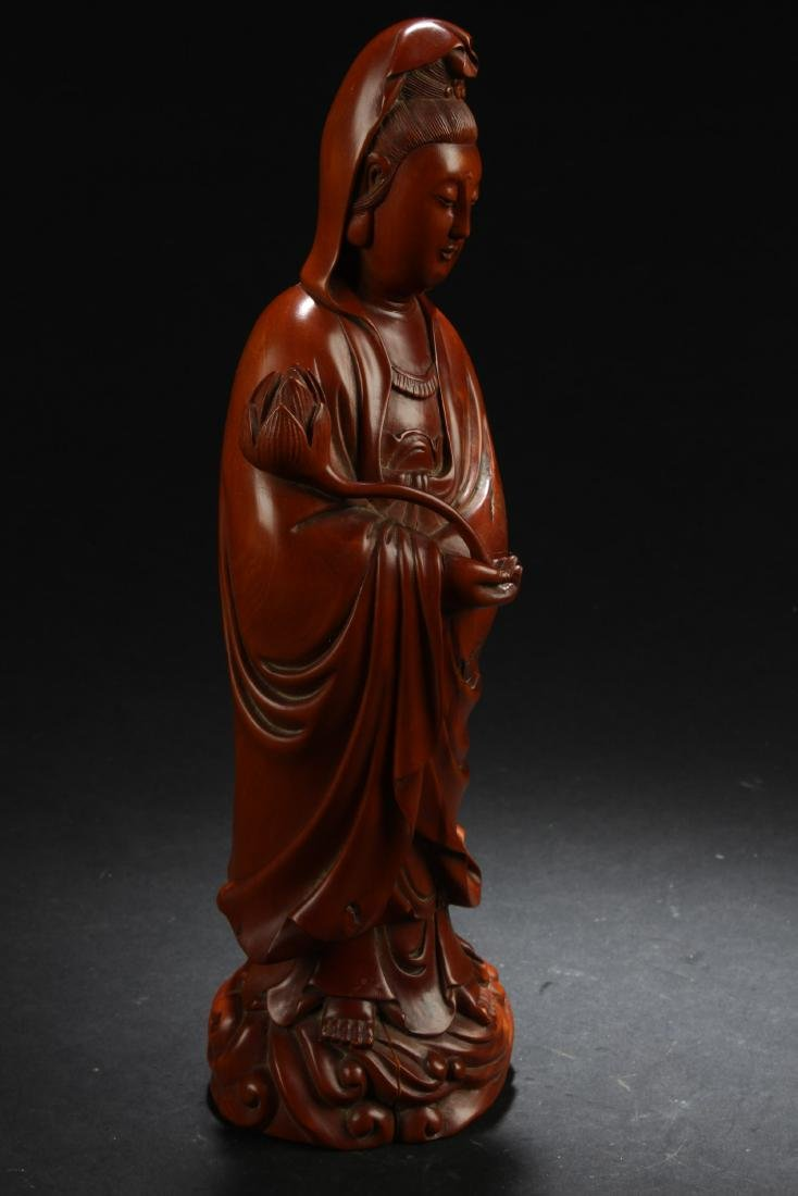 Chinese Wooden Carved Guanyin Statue - 2