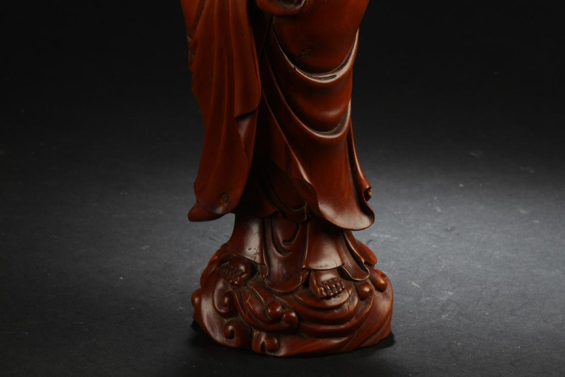 Chinese Wooden Carved Guanyin Statue - 5