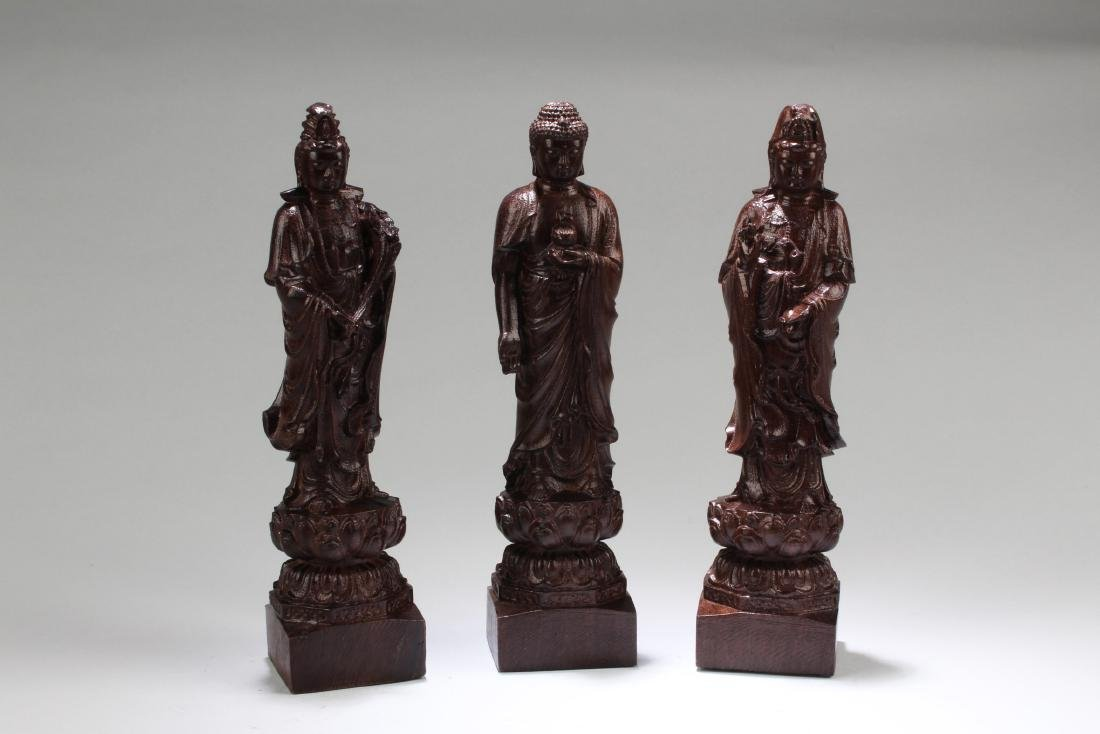 Chinese Hardwood Carved ' The three Saints of The West'