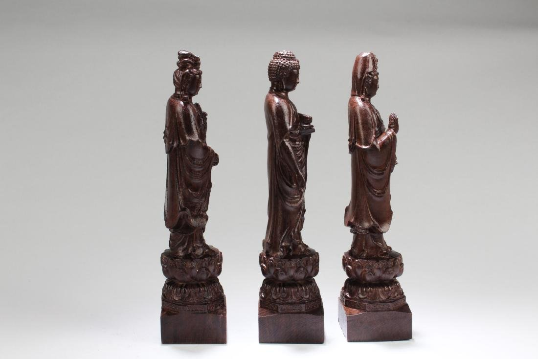 Chinese Hardwood Carved ' The three Saints of The West' - 3
