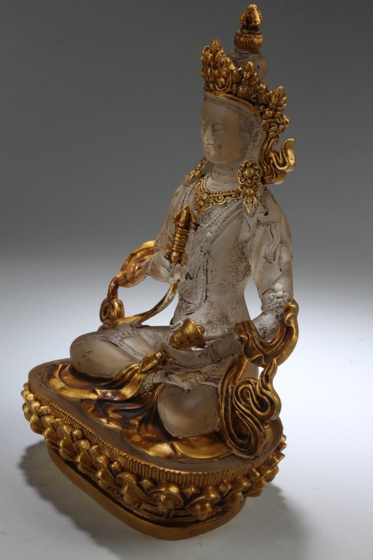 Chinese Peking Glass Bodhisattva Statue - 3