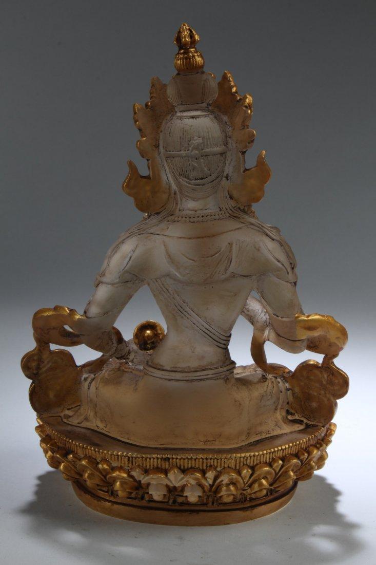 Chinese Peking Glass Bodhisattva Statue - 4