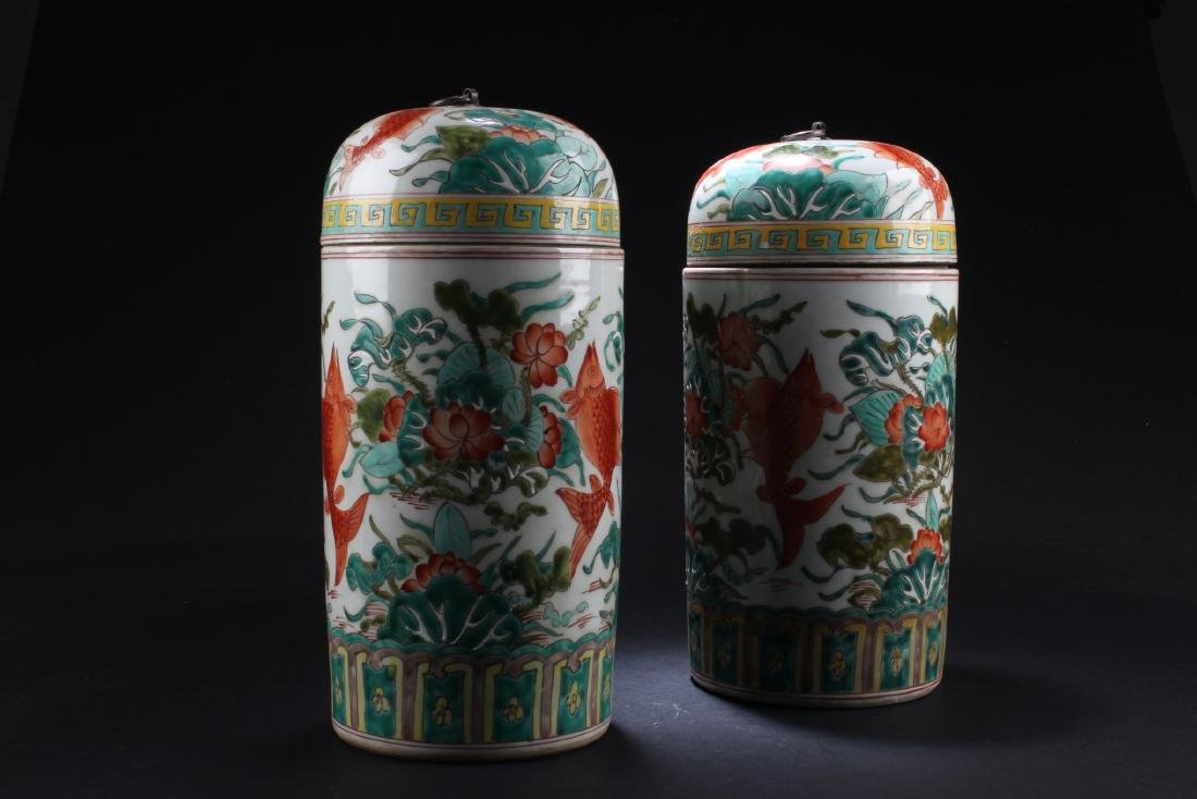 A Pair of Chinese Porcelain Vase with Jar cover