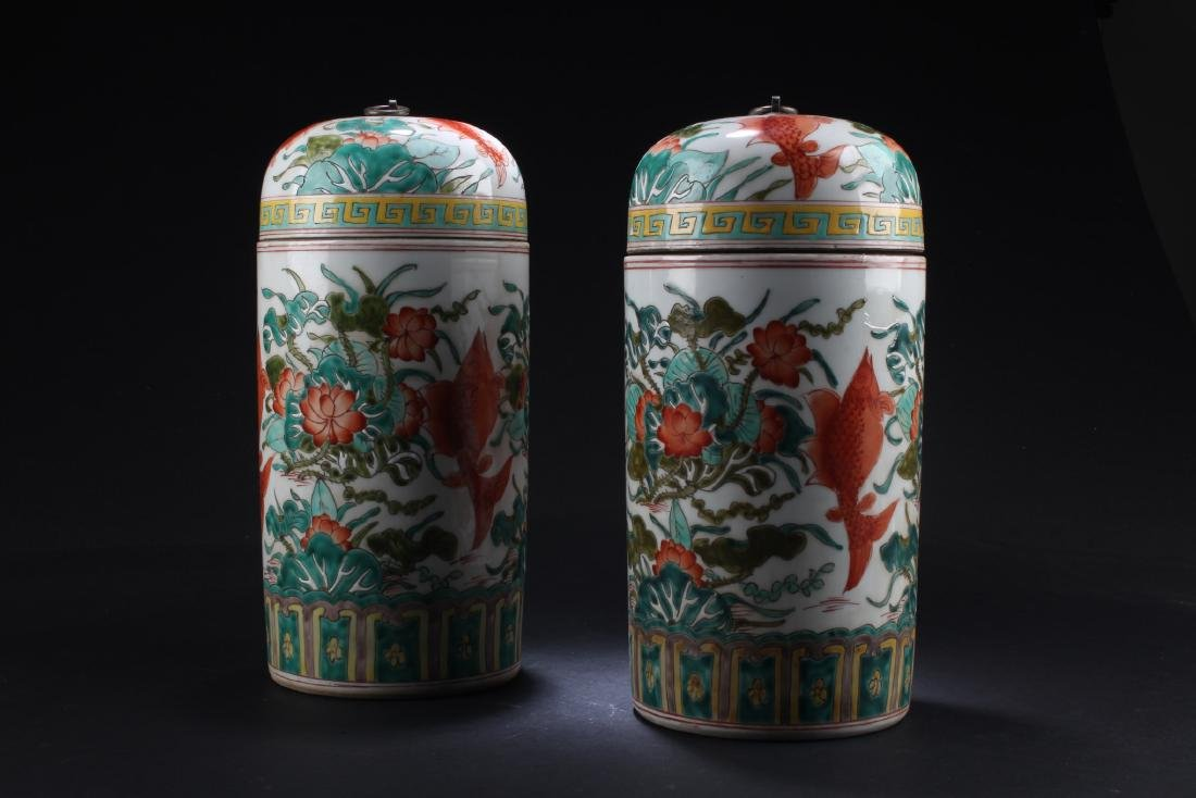 A Pair of Chinese Porcelain Vase with Jar cover - 2