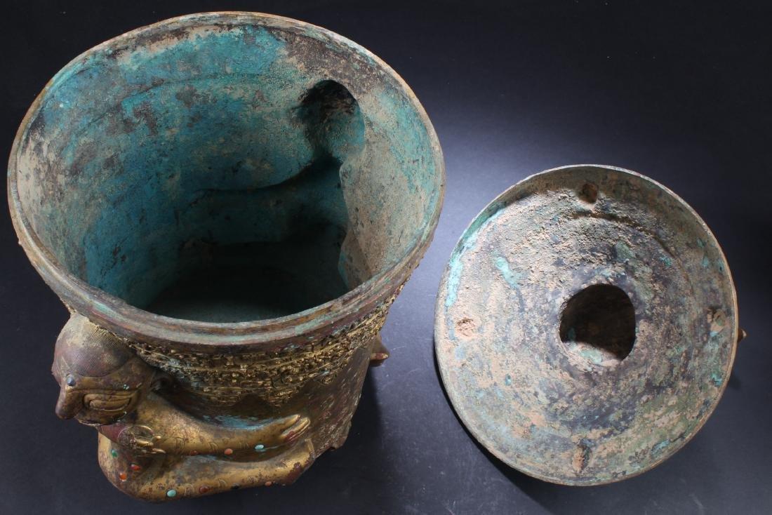 A Gilt Bronze Round Tripod Container - 6
