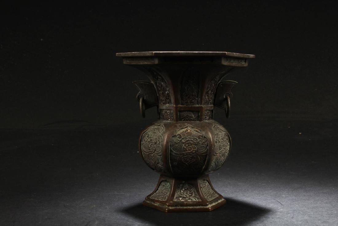 A Bronze Hexagon Vase
