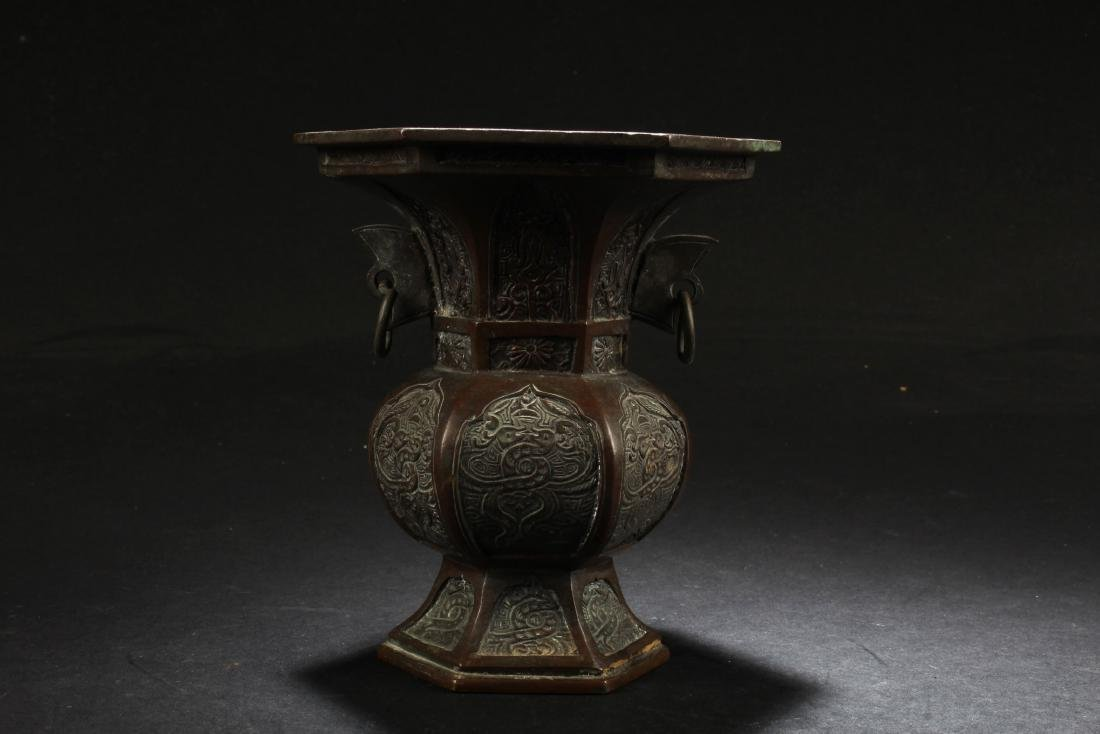 A Bronze Hexagon Vase - 2