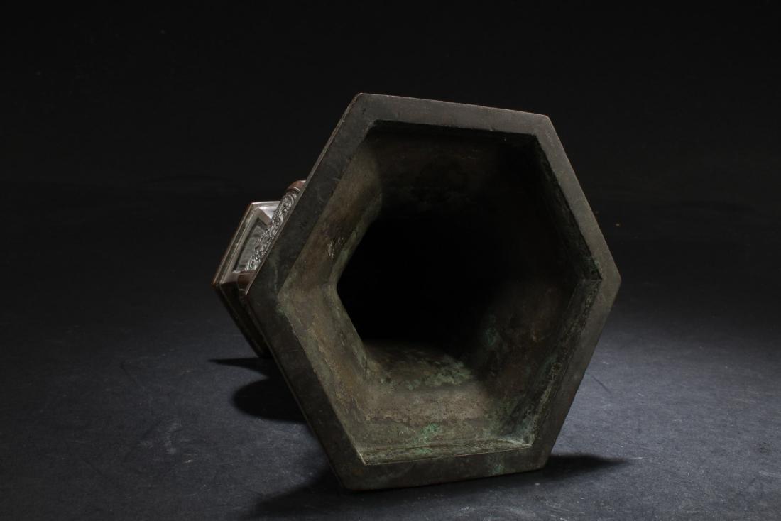 A Bronze Hexagon Vase - 4