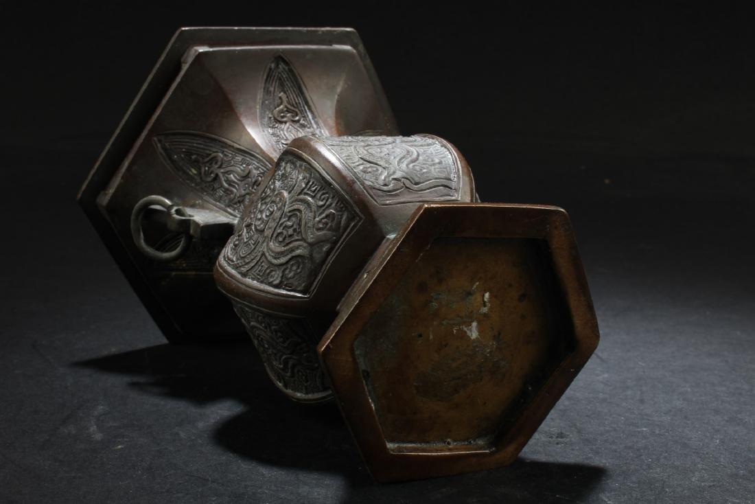 A Bronze Hexagon Vase - 5