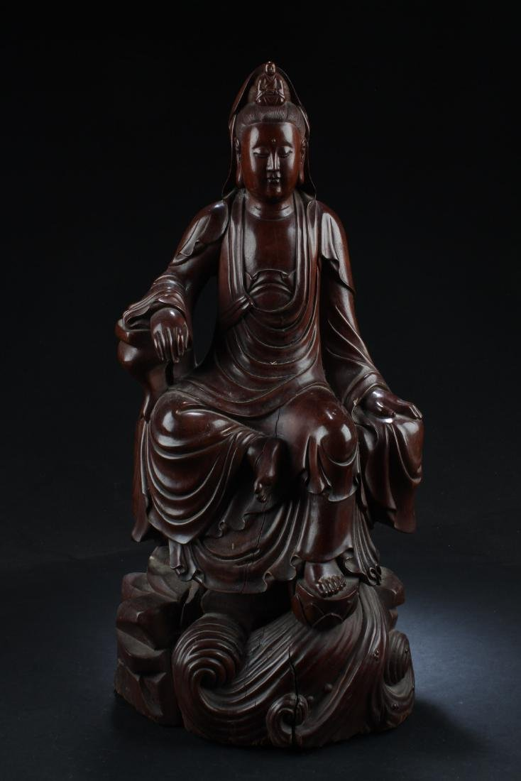 Chinese Wood Carved Guanyin Statue