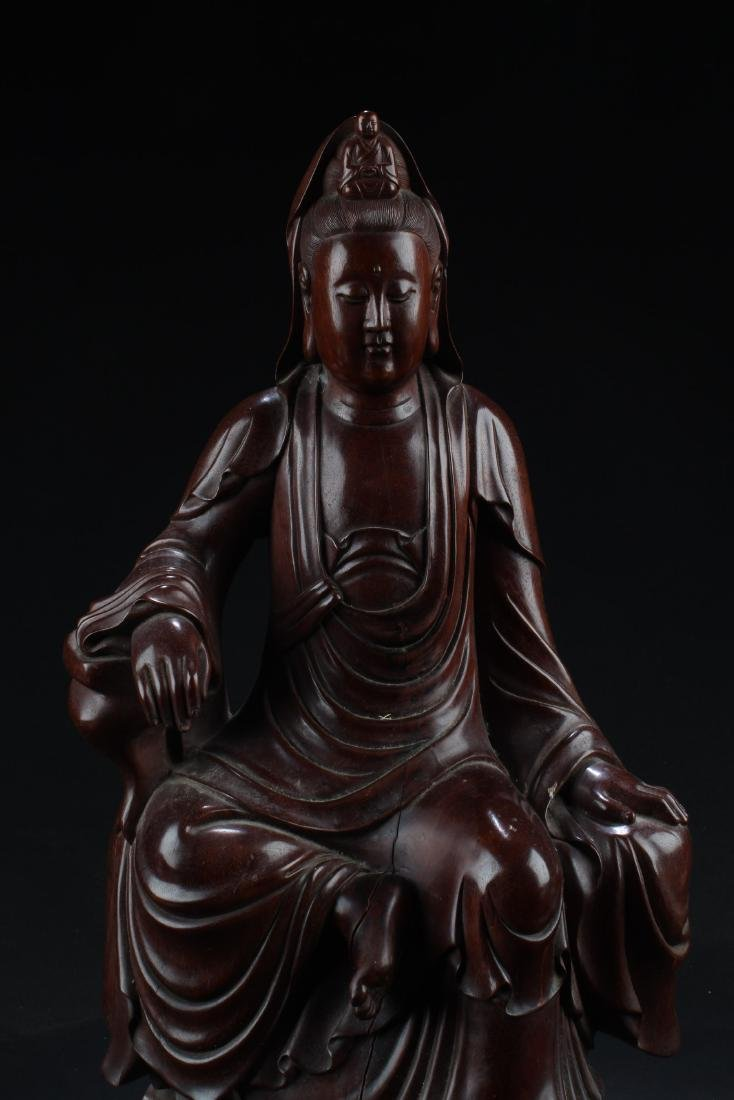 Chinese Wood Carved Guanyin Statue - 2
