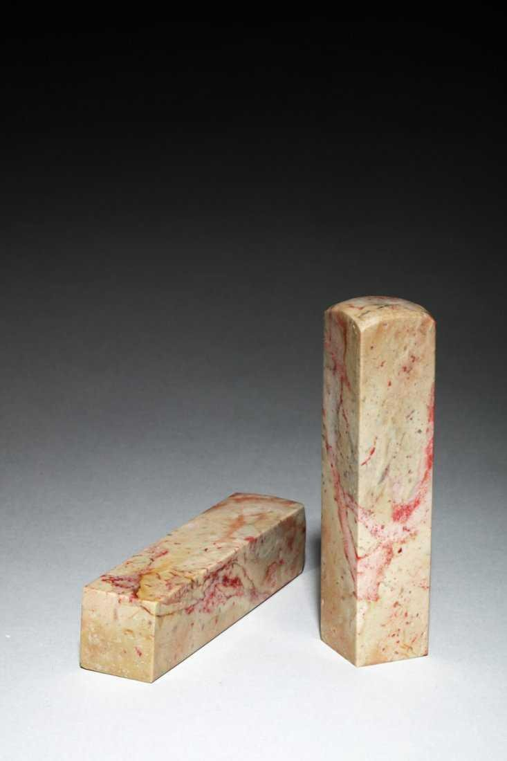 A Pair of Chinese Chicken Blood Soapstone Seals