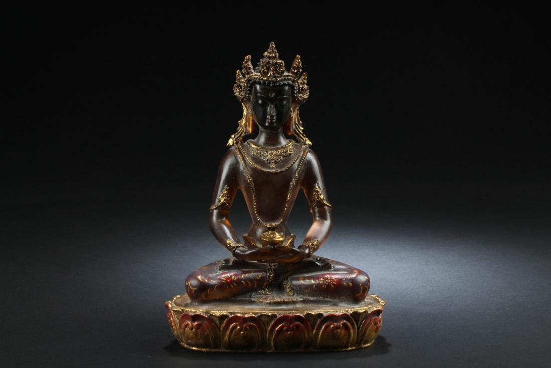 Chiense Peking Glass Bodhisattva Statue