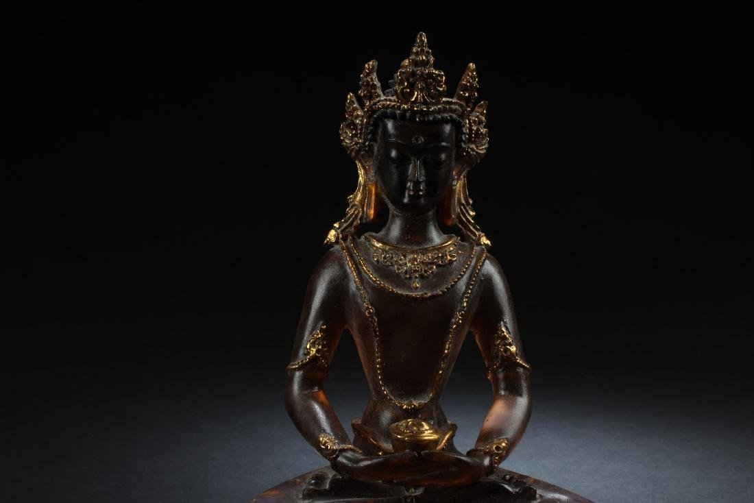 Chiense Peking Glass Bodhisattva Statue - 2