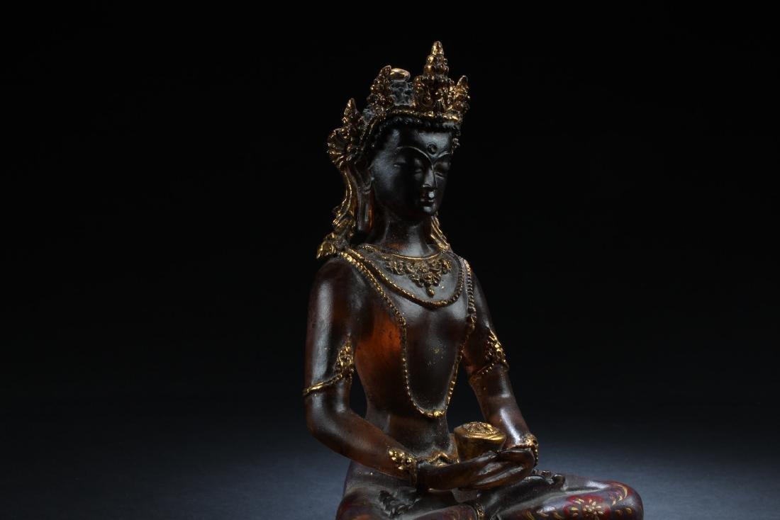Chiense Peking Glass Bodhisattva Statue - 3