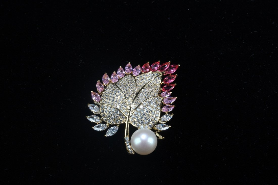 A Group of Three Natural Pearl with Manmade crystal - 7