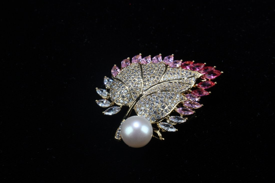 A Group of Three Natural Pearl with Manmade crystal - 8