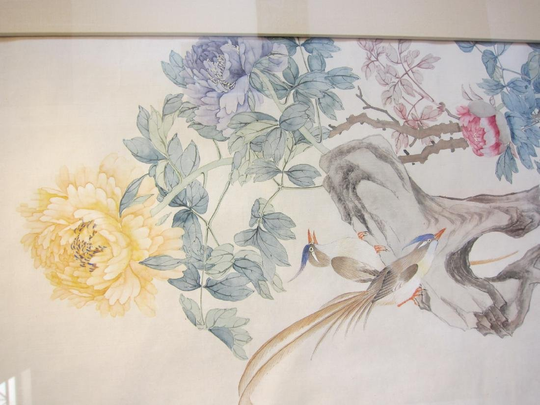 Antique Chinese Watercolor Framed Painting - 2