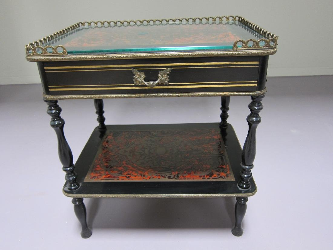 Antique Wood and Glass Table