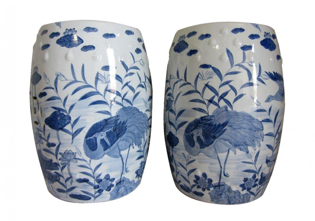 A Pair of Antique Chinese Blue and White Garden Seats