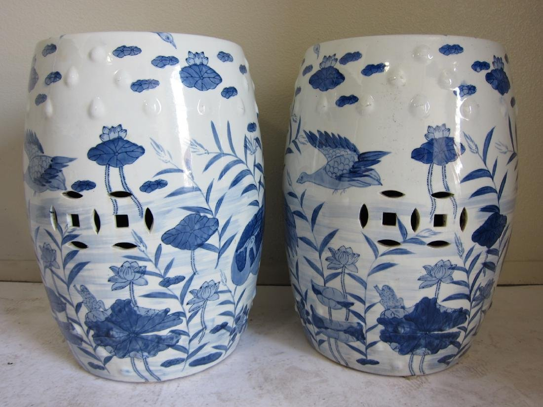 A Pair of Antique Chinese Blue and White Garden Seats - 2